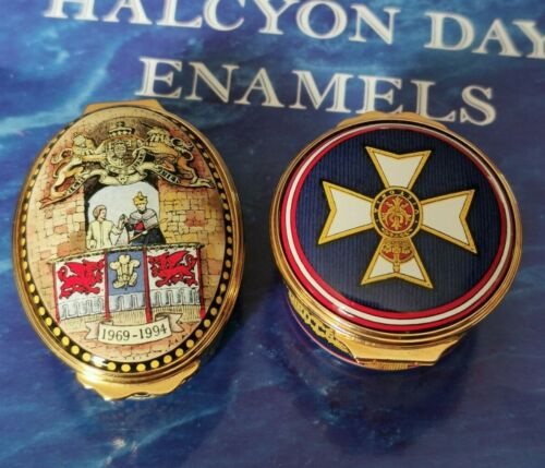Halcyon Days Enamels Boxes x 2 Royal Related Queen Victoria Prince Charles
