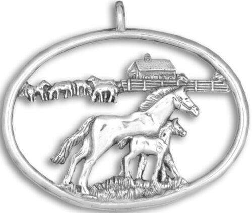 Hand & Hammer Sterling Horse Farm Ornament NEW XOS3961