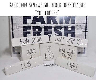 "RAE DUNN PAPERWEIGHT BLOCK, DESK PLAQUE LARGE LETTER ""YOU CHOOSE"" NEW HTF 2019"