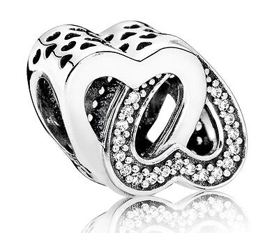 New Authentic Pandora Sterling Silver Entwined Love Hearts Charm 791880CZ