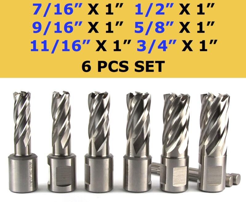 "6 pcs HSS Annular Cutter Set, 3/4"" Shank Magnetic Drill Set W/PIN"