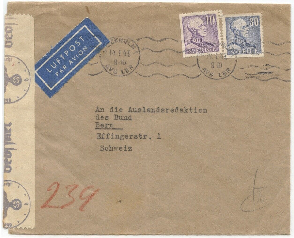 Sweden 1943 Air Cover To Switzerland W/Berlin Censor, 40 Ore Rate - $8.99