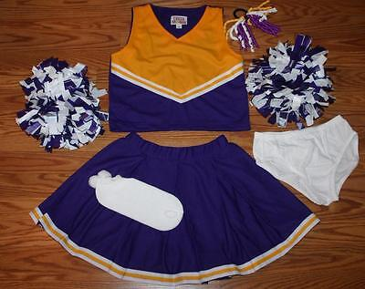 CHEERLEADER OUTFIT COSTUME UNIFORM HALLOWEEN PURPLE GOLD VIKINGS 12 LAKERS COLOR