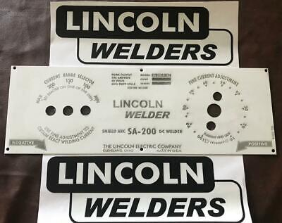 Lincoln Arc Welder Economy Sa-200 Control Plate Laser Etched M-8803 2-decals