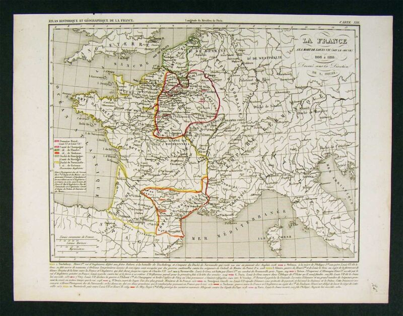 1841 Houze Map - France of Louis VII - 1108-1180 Europe