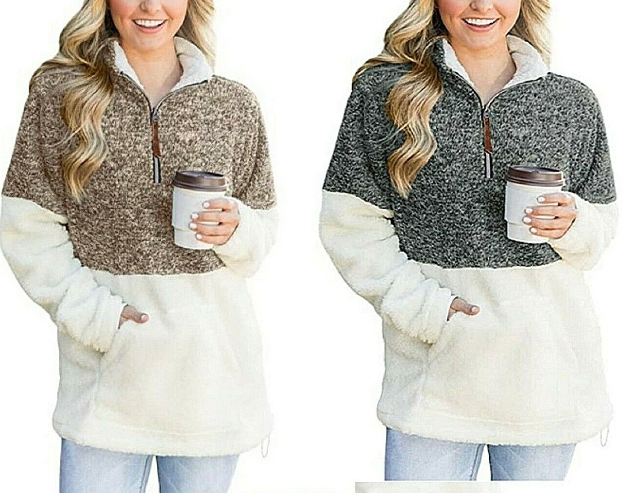 Women's Sherpa Pullover Color Block Quarter Zip with Pocket Soft Cozy Warm Comfy Activewear