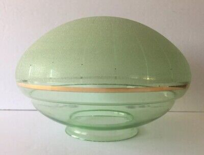 VINTAGE MID CENTURY PALE GREEN GLASS FROSTED CEILING LIGHT GLOBE SHADE WGOLD