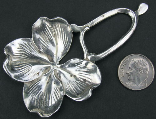 Vintage Sterling Silver Shamrock Wishbone Lucky Pendant or Tea Caddy Spoon 19g
