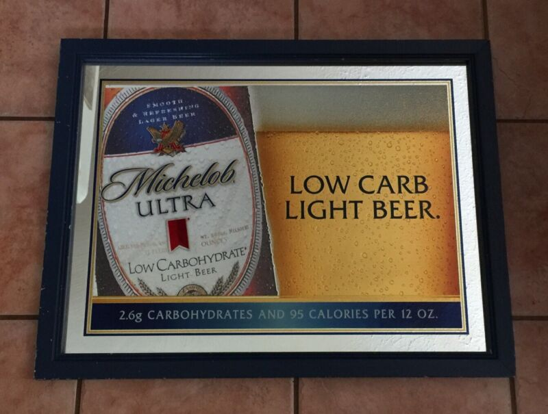 """Michelob Ultra Light Low Carb Beer Framed Bar Advertising Mirror 2002 26"""" x 20"""""""