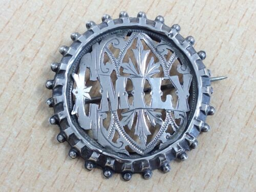 ANTIQUE STERLING SILVER EMILY NAME BROOCH PIN 1883