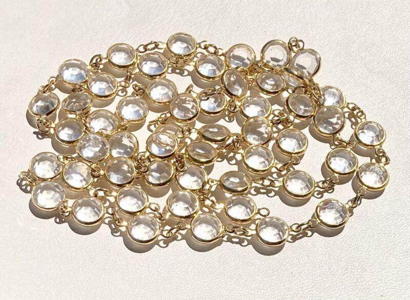 """Radiant SWAROVSKI Swan Signed Clear Crystals Open back Bezel set Necklace 36"""""""