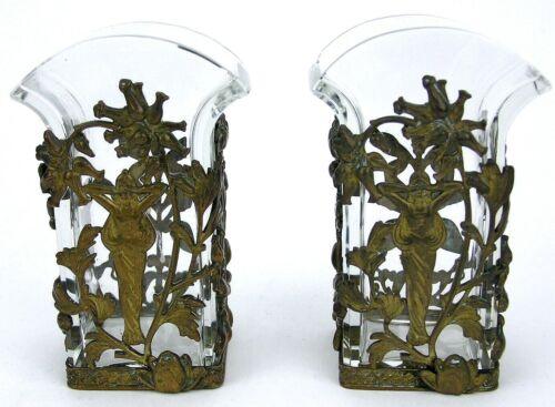 Pair Art Nouveau Glass Crystal Vases Bronze Mount Jugendstil Ormolu poss Austria