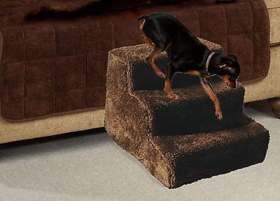Pet Stairs Dog Steps 3 Step Ladder Fleece Covered Staircase Indoor Ramp Puppy