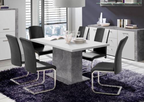 Esstisch Esszimmertisch Küchentisch Säulentisch Betonoptik lichtgrau weiß 62741