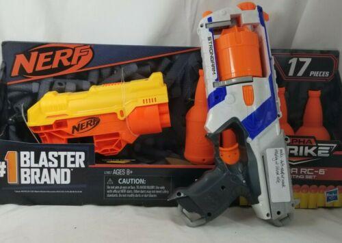2 NERF Guns Alpha Strike Cobra RC 6 Shot Revolver NEW & STRONGARM  12 DARTS