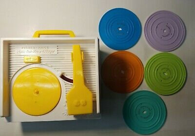 Vintage 2010 Fisher Price Wind-Up Music Box Record Player  5 Records Complete