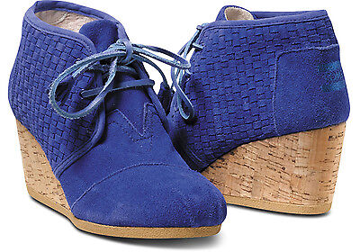 NEW Authentic TOMS+ Blue Basket Weave Suede Desert Wedges, Women Size 6, $185