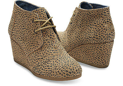 BROWN CHEETAH SUEDE WOMEN'S DESERT WEDGES SHOES. STYLE # 100