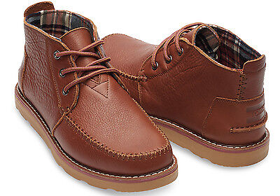 TOMS CHUKKA BOOT - BROWN FULL GRAIN LEATHER - SIZE 7 MEN -NEW WITH BOX