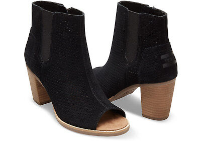 TOMS Black Suede Perforated Women's Majorca Peep Toe Booties. STYLE: 10004907