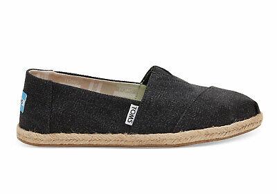 Toms Alpargata Black Washed Canvas Slip On Shoe Women (Toms Women Black)