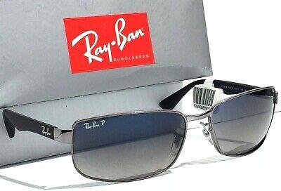 NEW* Ray Ban Gunmetal & Black w POLARIZED Grey Blue Lens Sunglass RB 3478 (Ray Ban Plastic Lenses)