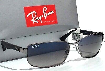 Neu Ray Ban Gunmetal & Schwarz mit Polarisiert Grau Blau Gläser Sonnenbrille RB