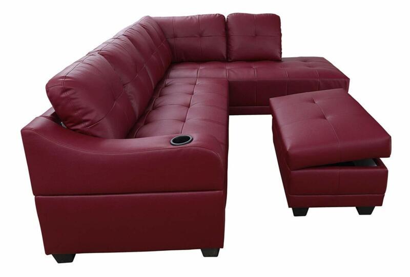 Sectional Sofa Set Burgundy