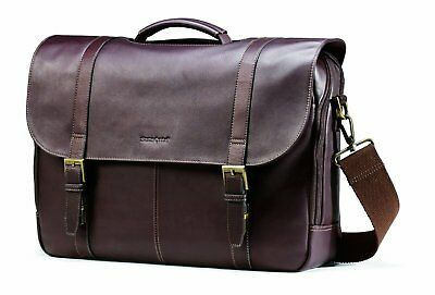 Samsonite Leather Flapover Case Double Gusset Laptop Briefcase in Brown