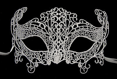 Mask from Venice Lace of Burano-Loupcivette Carnival- Silver 335