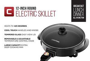 Skillet Frying Pan Indoor Electric Temp Control Non Stick Chefman RJ05-12-RO-AM.