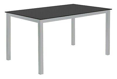 Mesa cocina grande o salon comedor cristal templado negro y patas acero...