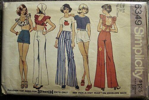 Vintage 1974 Simplicity Backless Midriff Top Shorts & Pants Pattern #6349 Sz 5/6