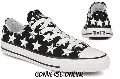 Kid Boys Girl Converse All Star Repeat Star Black White Trainers 31.5 Uk Size 13