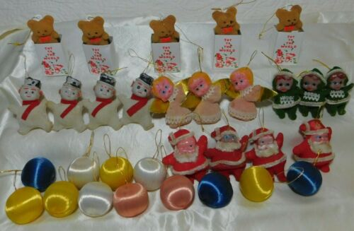 Vintage lot of 31 FLOCKED Christmas Ornaments & satin SILK STRING BALLS Bear Elf