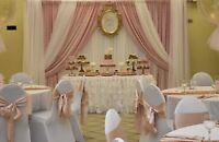 Dessert tables, customized with backdrop decor and desserts