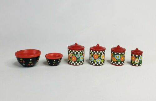 """Mary Engelbreit Miniature Nesting Canister 4-pc Set and 2 Mixing Bowls 3/4"""""""