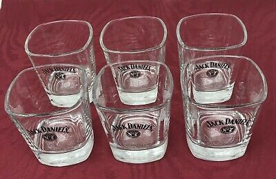 Jack Daniels Old No 7 Brand Square Glasses Low Ball Rocks Cocktail Whiskey Lot 6