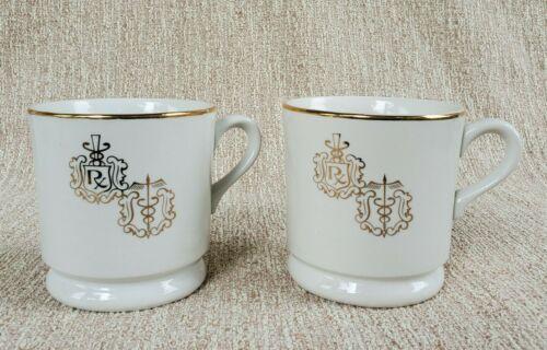 Pair 2 Vintage RX Pharmacist Pharmacy Medicine Coffee Mug Cup Porcelain HALL