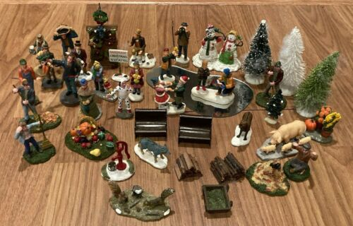 40 Piece Lemax Christmas Holiday Village Accessories People Trees Animals