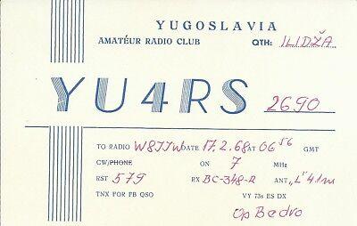 OLD VINTAGE YU4RS ILIDZA YUGOSLAVIA AMATEUR RADIO QSL CARD