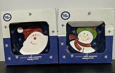 "Set of 8 Ceramic Salad Plates 8"" Santa Snowman Bear Gingerbread The Cellar 1999"
