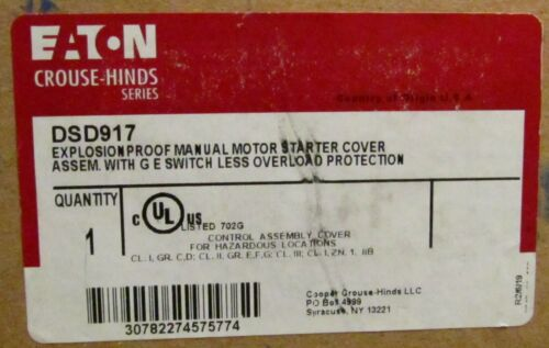 EATON CROUSE HINDS DSD917 Manual Flip Lever START STOP Motor Starter Cover