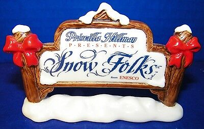 Christmas Priscilla Hillman Enesco Snow Folks Store Counter Display Sign Bows