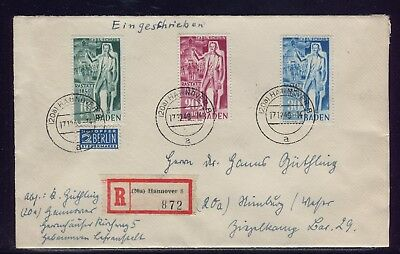 Fr. ZONE, BADEN: MiNr. 50 - 52 SATZBRIEF, RECO ab HANNOVER 1949 nach NIENBURG