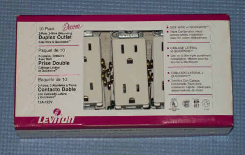 NEW LEVITON DECORA WHITE DUPLEX WALL OUTLET 10-PACK 5325-WMP 15 Amp 125V AC