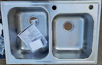 Elkay Top Mount Stainless Steel 33x22x8 in. 2-Hole Double Bowl Kitchen Sink Sa..