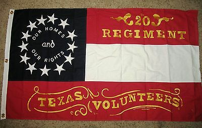 COTTON, Southern Civil War Flag..20th Texas Flag, Stars and Bars Flag