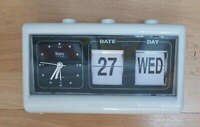 Retro Vintage Calendar Flip Alarm Clock with Three Press Button White