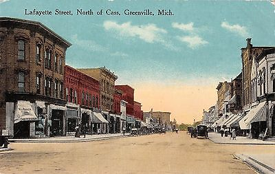 Greenville Michigan Lafayette Street North Of Cass Antique Postcard V11884
